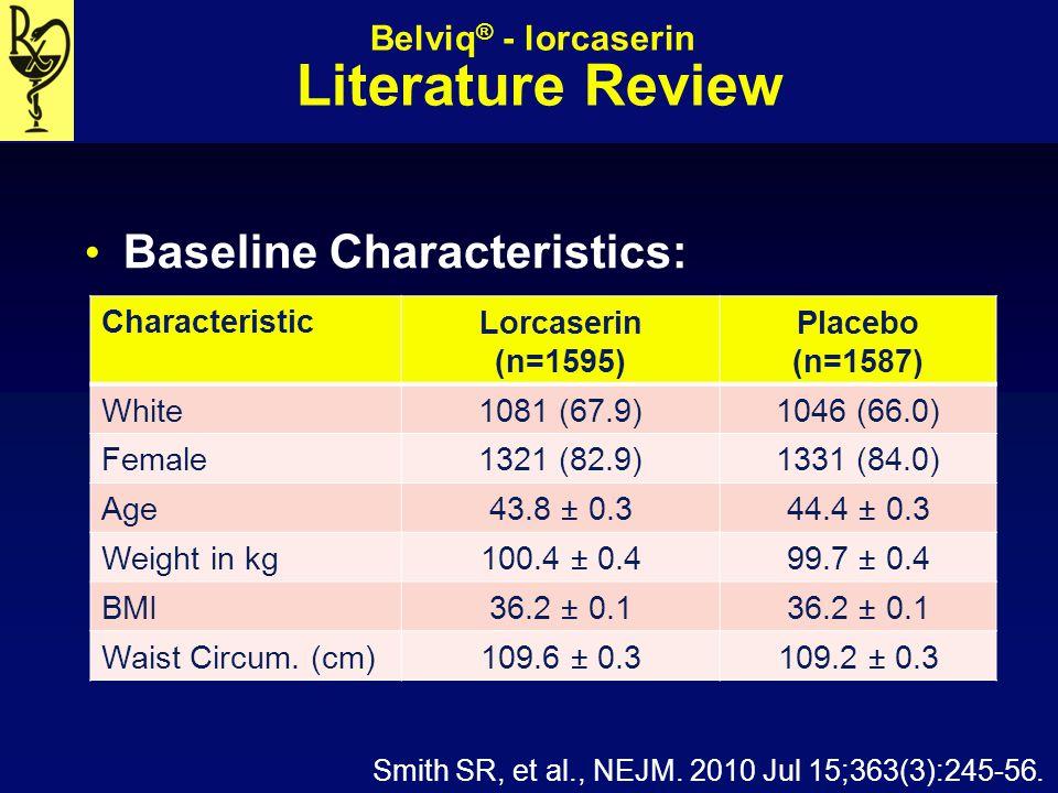 Belviq ® - lorcaserin Literature Review Baseline Characteristics: Characteristic Lorcaserin (n=1595) Placebo (n=1587) White 1081 (67.9)1046 (66.0) Fem