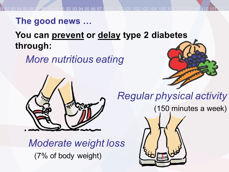 More nutritious eating Regular physical activity (150 minutes a week) Moderate weight loss (7% of body weight) The good news … You can prevent or dela
