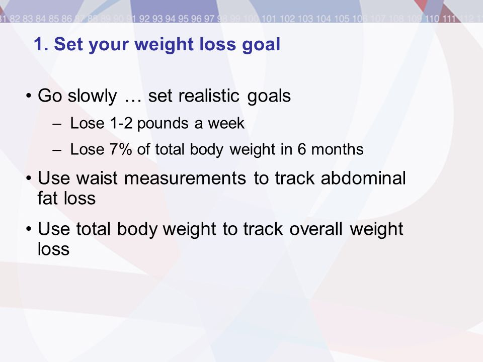 Go slowly … set realistic goals –Lose 1-2 pounds a week –Lose 7% of total body weight in 6 months Use waist measurements to track abdominal fat loss U