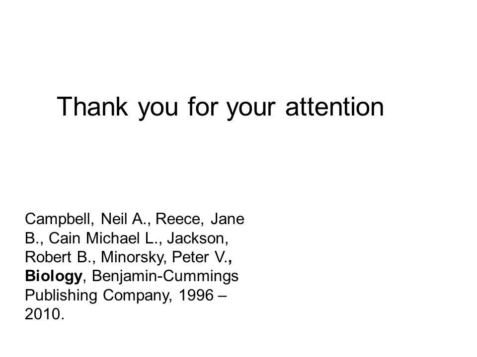 Campbell, Neil A., Reece, Jane B., Cain Michael L., Jackson, Robert B., Minorsky, Peter V., Biology, Benjamin-Cummings Publishing Company, 1996 – 2010