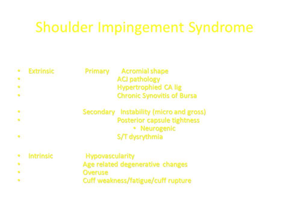 Shoulder Impingement Syndrome Extrinsic Primary Acromial shape Extrinsic Primary Acromial shape ACJ pathology ACJ pathology Hypertrophied CA lig Hyper