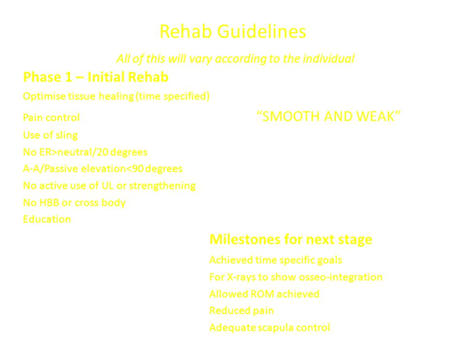 """Rehab Guidelines All of this will vary according to the individual Phase 1 – Initial Rehab Optimise tissue healing (time specified) Pain control """"SMOO"""