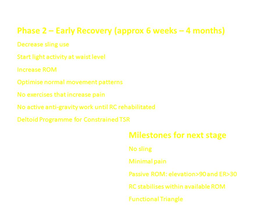 Phase 2 – Early Recovery (approx 6 weeks – 4 months) Decrease sling use Start light activity at waist level Increase ROM Optimise normal movement patterns No exercises that increase pain No active anti-gravity work until RC rehabilitated Deltoid Programme for Constrained TSR Milestones for next stage No sling Minimal pain Passive ROM: elevation>90 and ER>30 RC stabilises within available ROM Functional Triangle