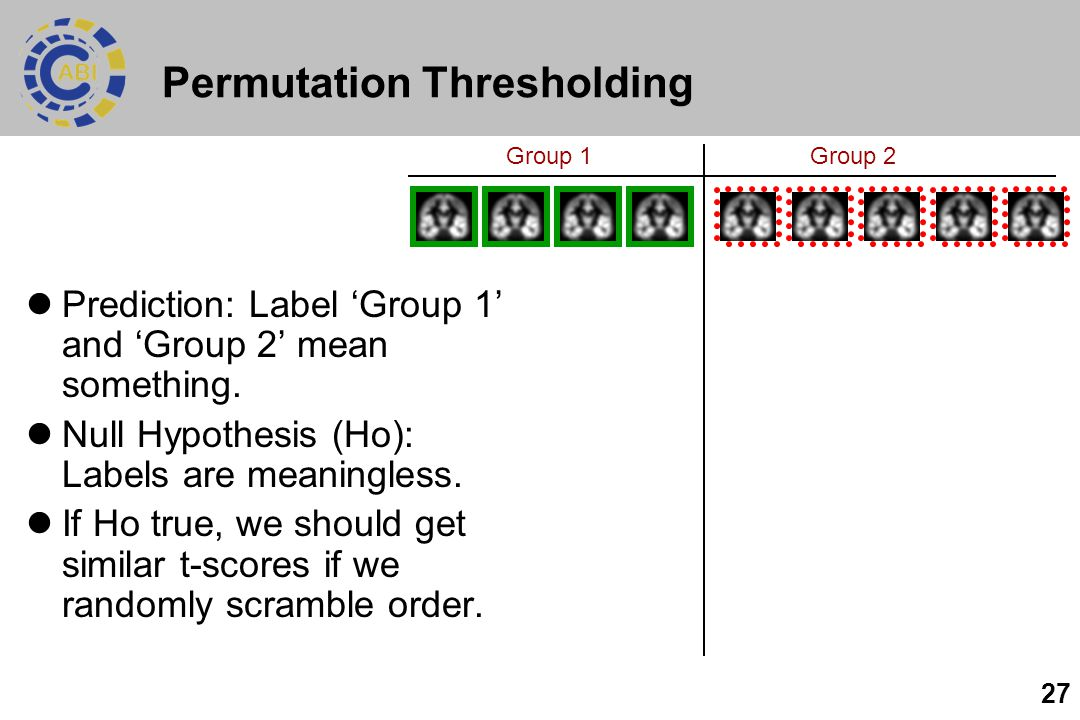 27 Permutation Thresholding Prediction: Label 'Group 1' and 'Group 2' mean something.