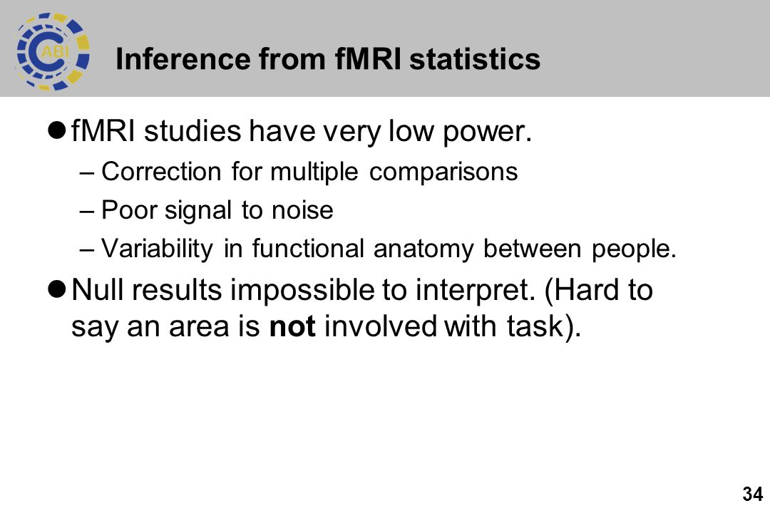 34 Inference from fMRI statistics fMRI studies have very low power.