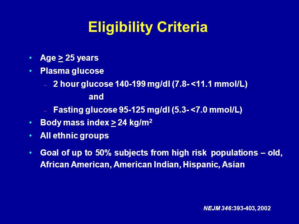 Age > 25 years Plasma glucose – 2 hour glucose 140-199 mg/dl (7.8- <11.1 mmol/L) and – Fasting glucose 95-125 mg/dl (5.3- <7.0 mmol/L) Body mass index