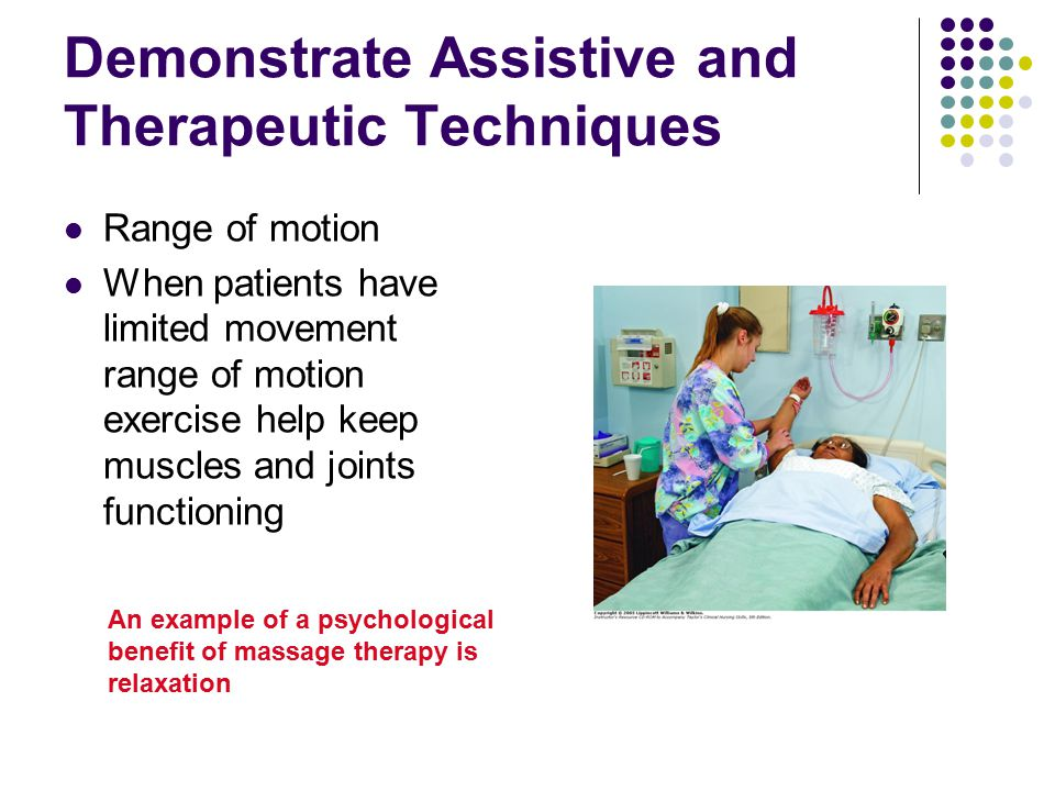 Demonstrate Assistive and Therapeutic Techniques Range of motion When patients have limited movement range of motion exercise help keep muscles and jo