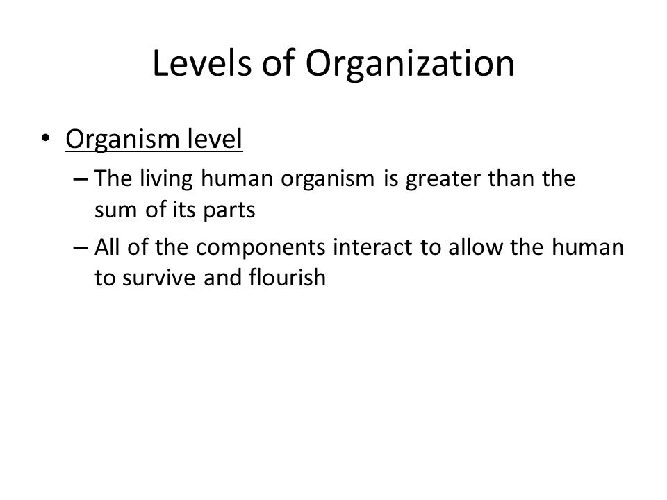 Levels of Organization Organism level – The living human organism is greater than the sum of its parts – All of the components interact to allow the human to survive and flourish