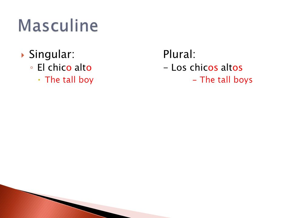  Singular:Plural: ◦ El chico alto- Los chicos altos  The tall boy- The tall boys