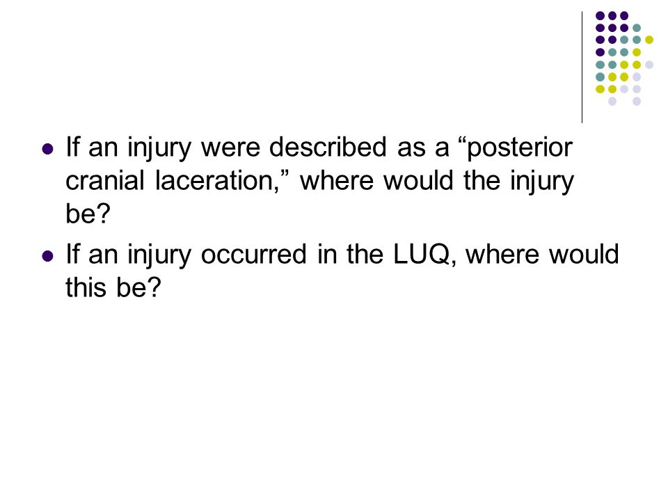 "If an injury were described as a ""posterior cranial laceration,"" where would the injury be? If an injury occurred in the LUQ, where would this be?"
