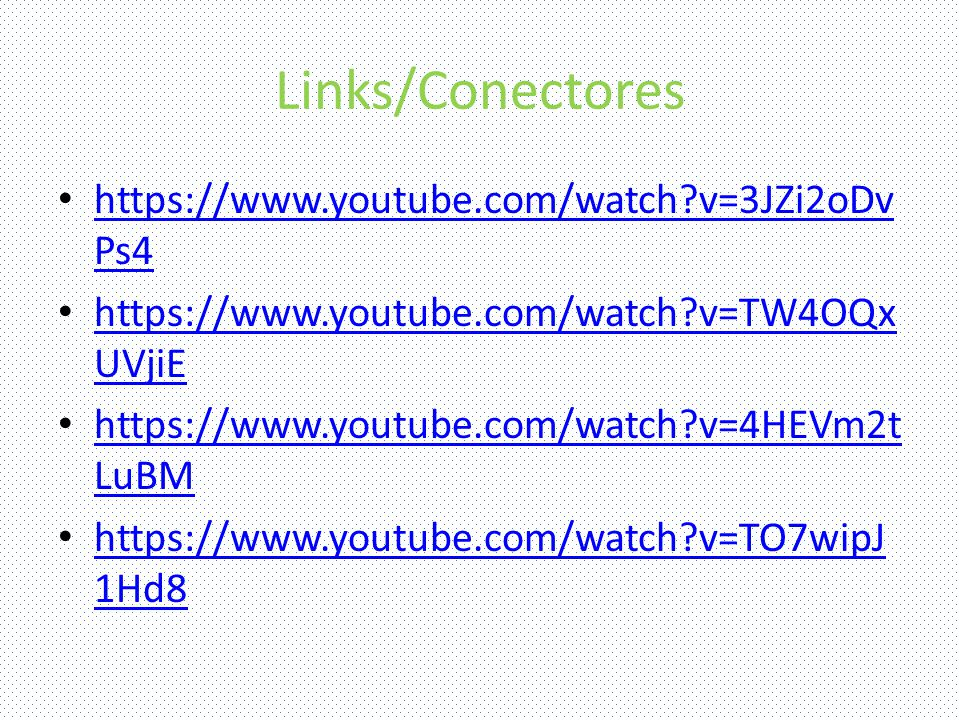 Links/Conectores https://www.youtube.com/watch v=3JZi2oDv Ps4 https://www.youtube.com/watch v=3JZi2oDv Ps4 https://www.youtube.com/watch v=TW4OQx UVjiE https://www.youtube.com/watch v=TW4OQx UVjiE https://www.youtube.com/watch v=4HEVm2t LuBM https://www.youtube.com/watch v=4HEVm2t LuBM https://www.youtube.com/watch v=TO7wipJ 1Hd8 https://www.youtube.com/watch v=TO7wipJ 1Hd8