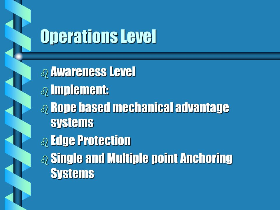 Operations Level b Awareness Level b Implement: b Rope based mechanical advantage systems b Edge Protection b Single and Multiple point Anchoring Syst