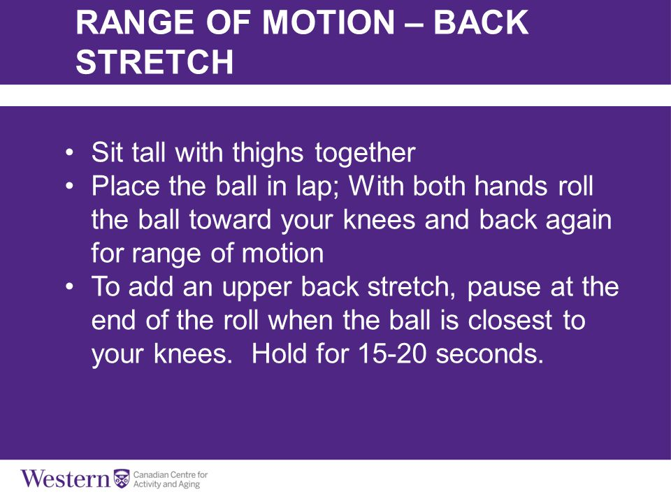 Sit tall with thighs together Place the ball in lap; With both hands roll the ball toward your knees and back again for range of motion To add an uppe