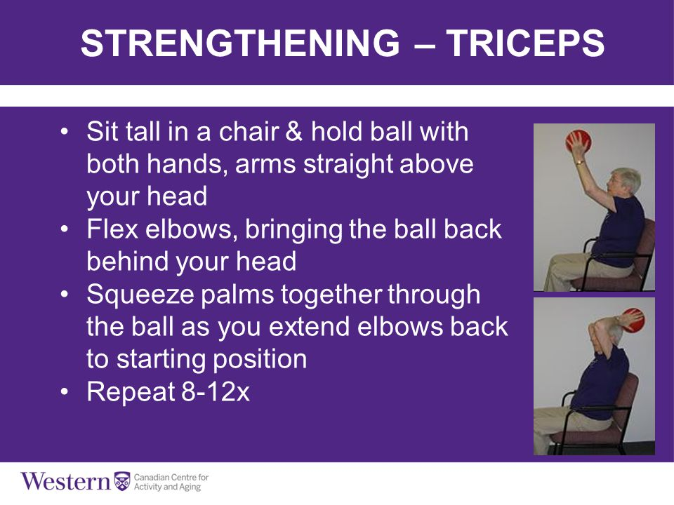 STRENGTHENING – TRICEPS Sit tall in a chair & hold ball with both hands, arms straight above your head Flex elbows, bringing the ball back behind your