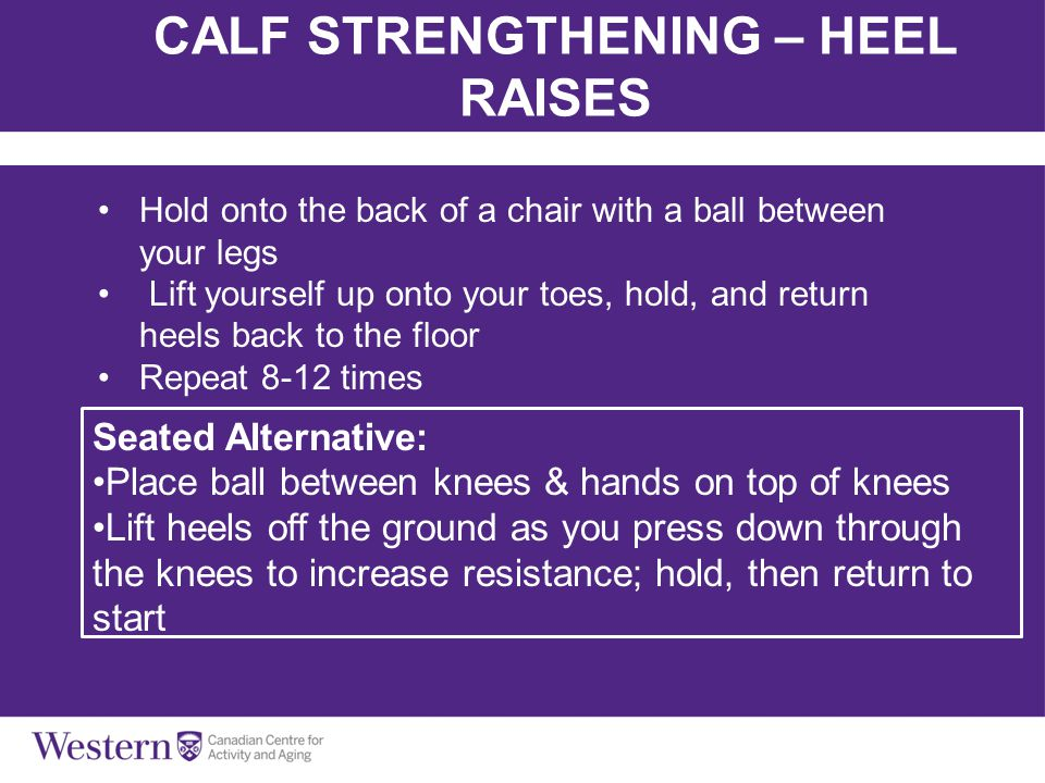 CALF STRENGTHENING – HEEL RAISES Hold onto the back of a chair with a ball between your legs Lift yourself up onto your toes, hold, and return heels b