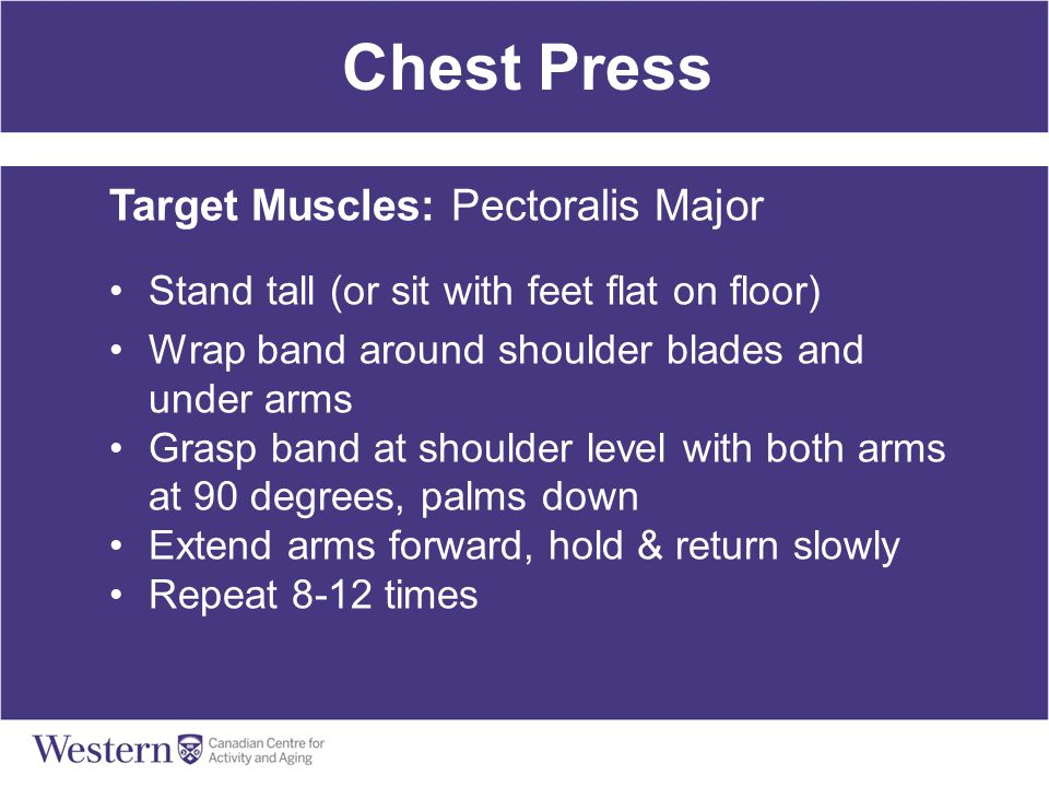 Chest Press Target Muscles: Pectoralis Major Stand tall (or sit with feet flat on floor) Wrap band around shoulder blades and under arms Grasp band at