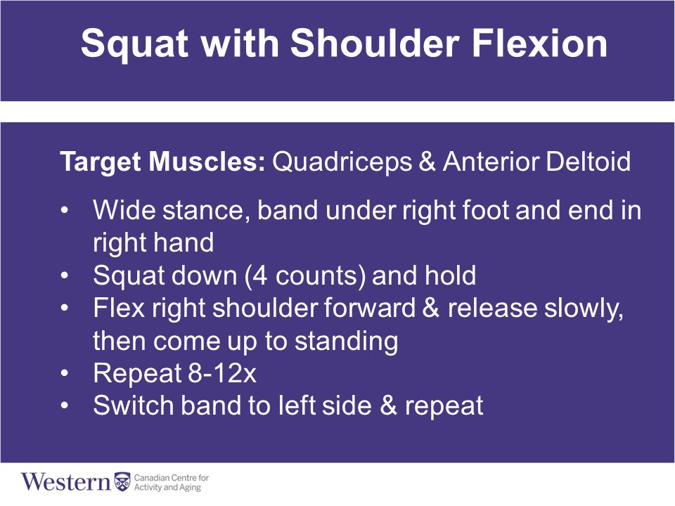 Squat with Shoulder Flexion Target Muscles: Quadriceps & Anterior Deltoid Wide stance, band under right foot and end in right hand Squat down (4 count
