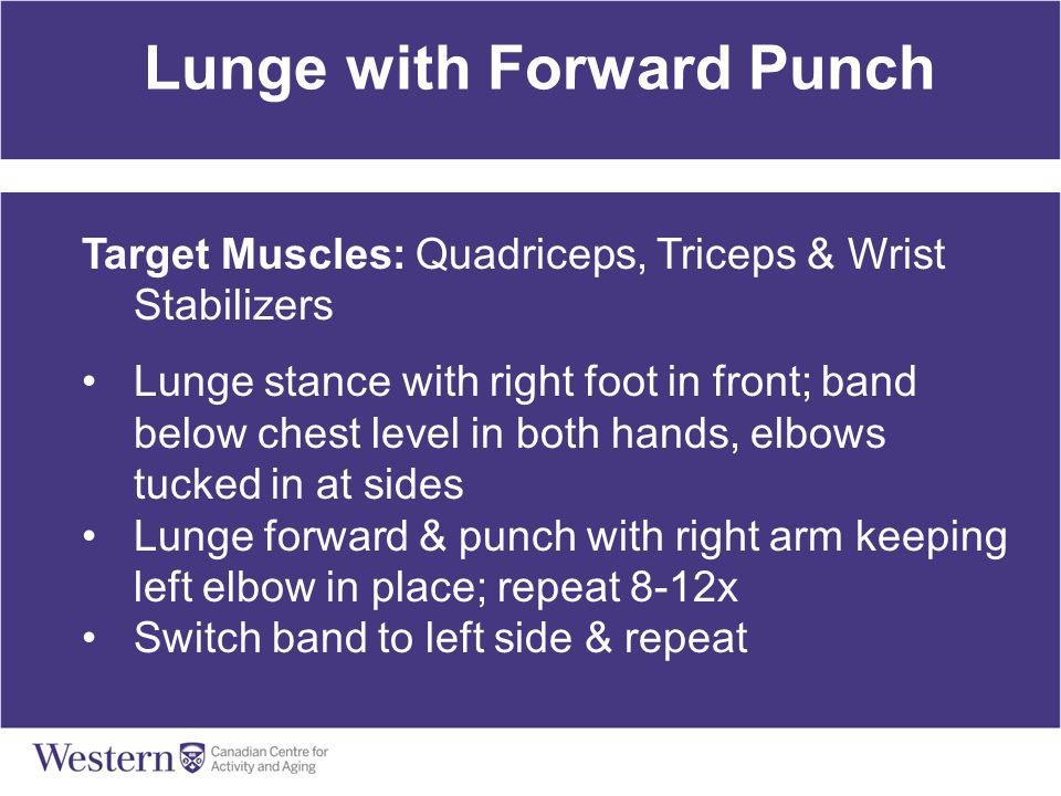 Lunge with Forward Punch Target Muscles: Quadriceps, Triceps & Wrist Stabilizers Lunge stance with right foot in front; band below chest level in both