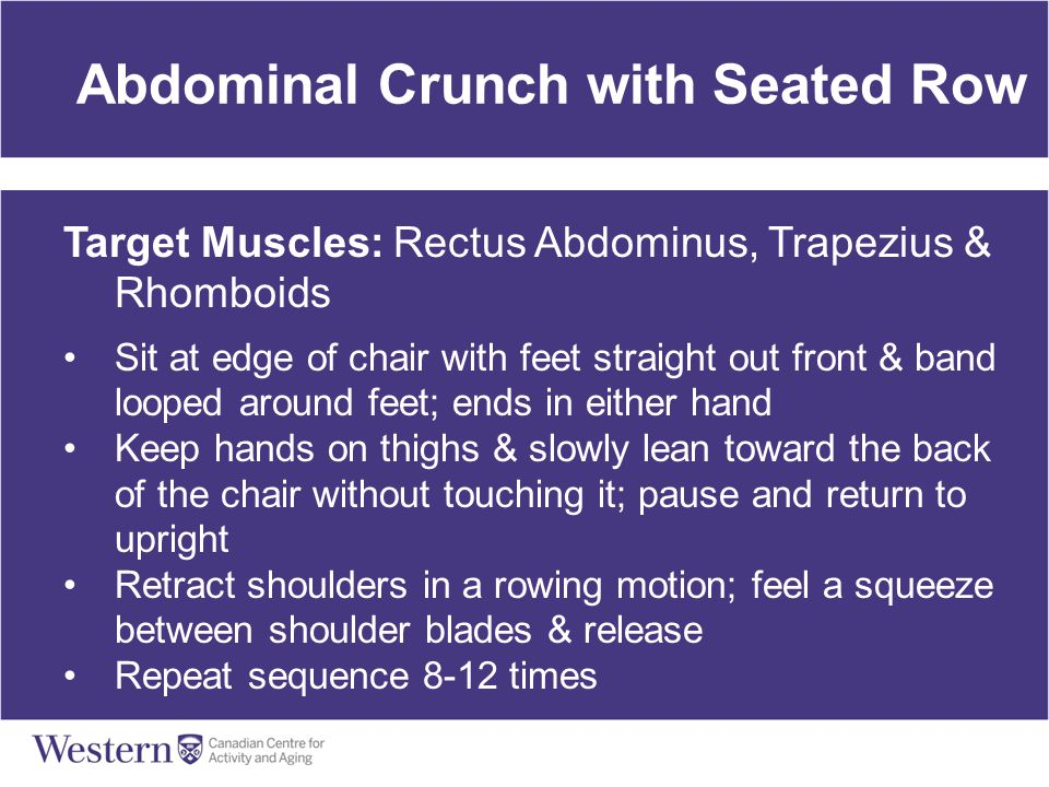 Abdominal Crunch with Seated Row Target Muscles: Rectus Abdominus, Trapezius & Rhomboids Sit at edge of chair with feet straight out front & band loop