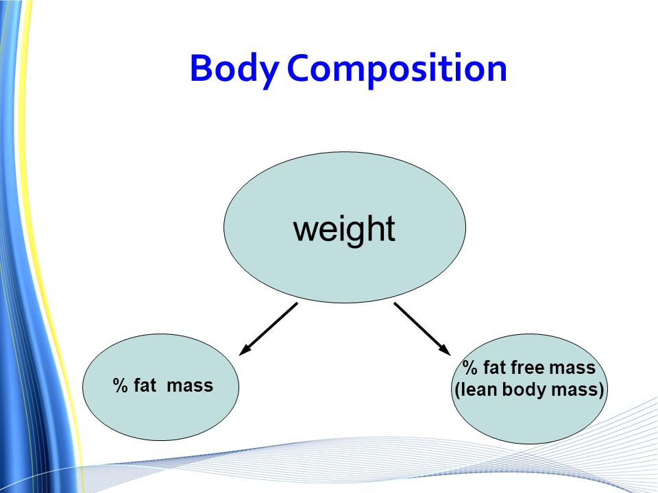 Body Composition weight % fat free mass (lean body mass) % fat mass