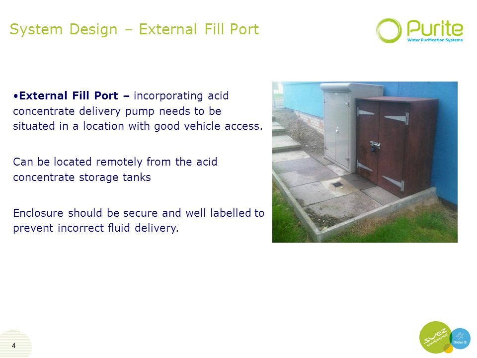 4 System Design – External Fill Port External Fill Port – incorporating acid concentrate delivery pump needs to be situated in a location with good ve