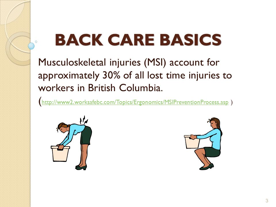 Musculoskeletal injuries (MSI) account for approximately 30% of all lost time injuries to workers in British Columbia.
