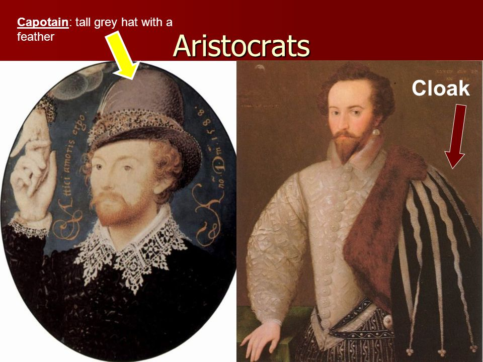 Aristocrats Cloak Capotain: tall grey hat with a feather