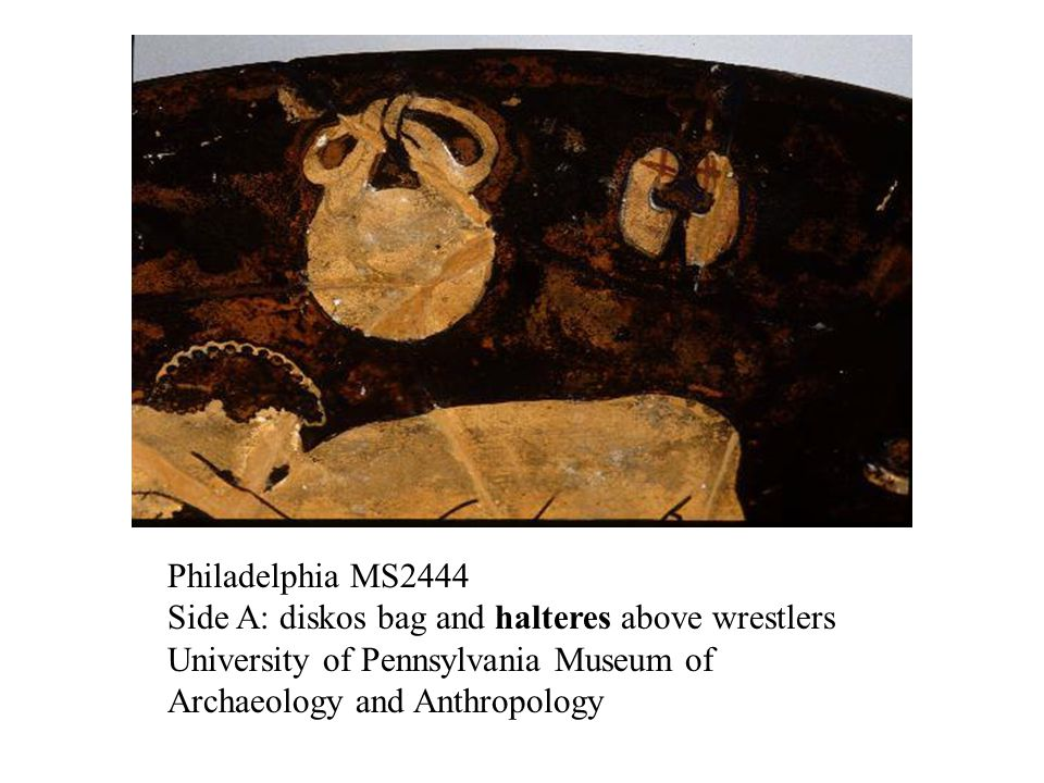 Philadelphia MS2444 Side A: diskos bag and halteres above wrestlers University of Pennsylvania Museum of Archaeology and Anthropology