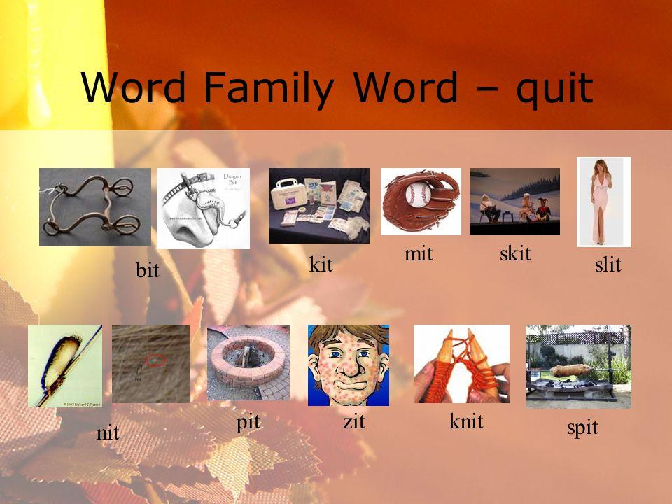 Word Family Word – quit bit kit mit skit slit nit pit zitknit spit