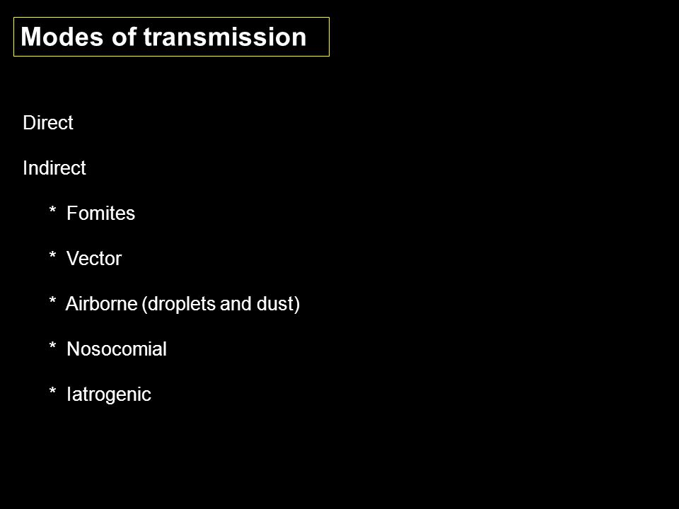 Modes of transmission Direct Indirect * Fomites * Vector * Airborne (droplets and dust) * Nosocomial * Iatrogenic
