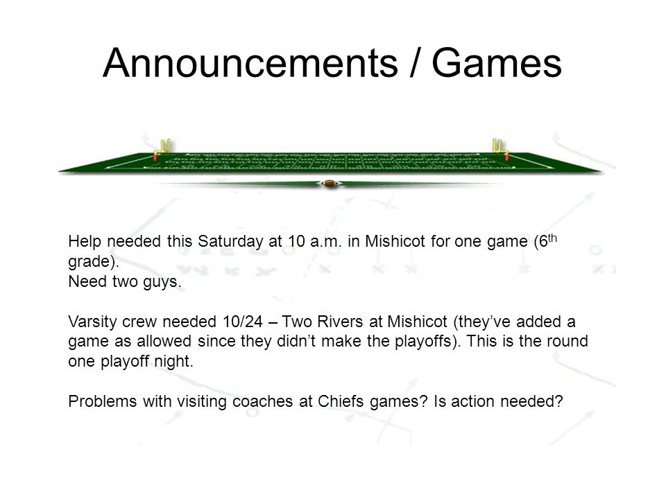 Announcements / Games Help needed this Saturday at 10 a.m.
