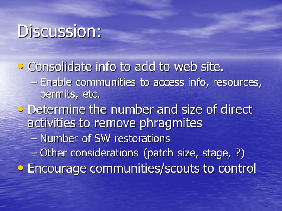 Discussion: Consolidate info to add to web site. Consolidate info to add to web site.