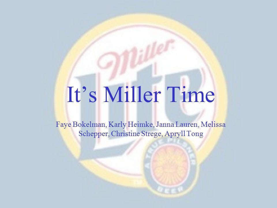 It's Miller Time Faye Bokelman, Karly Heimke, Janna Lauren, Melissa Schepper, Christine Strege, Apryll Tong