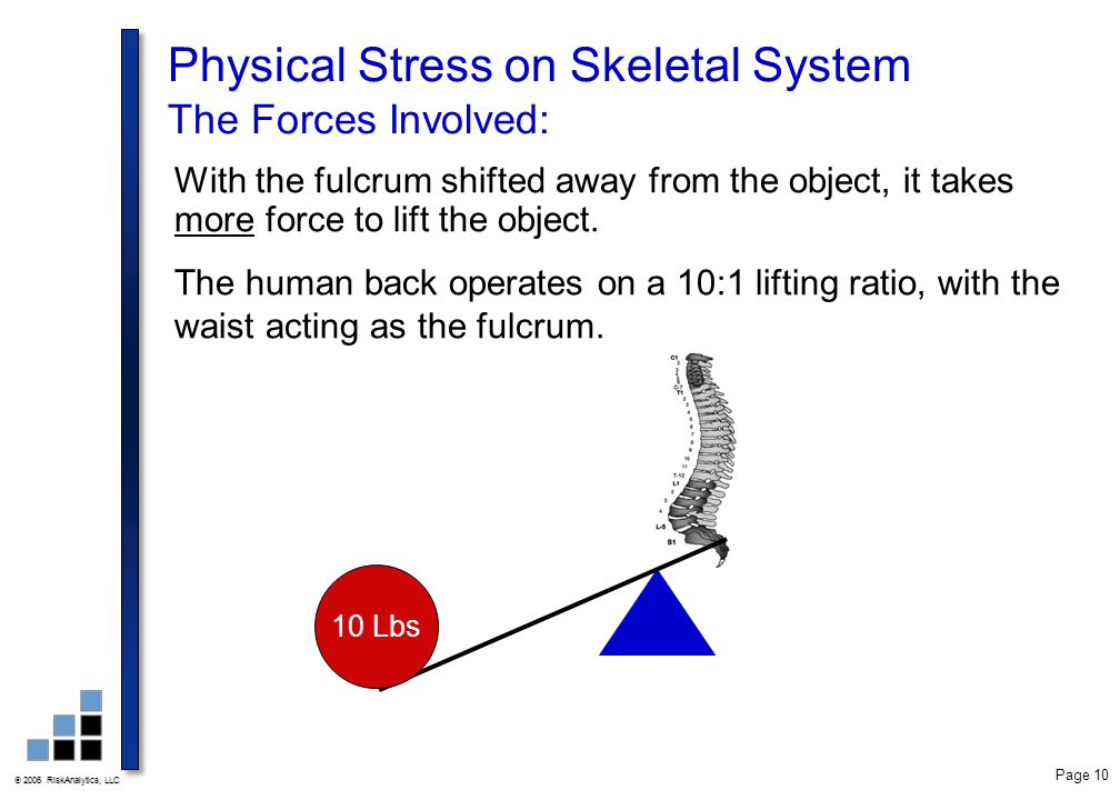  2006 RiskAnalytics, LLC Page 10 Physical Stress on Skeletal System The Forces Involved: With the fulcrum shifted away from the object, it takes more force to lift the object.