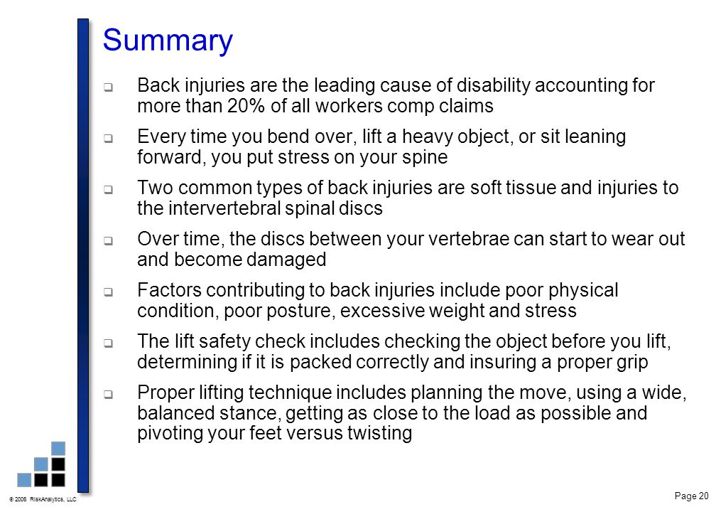  2006 RiskAnalytics, LLC Page 20 Summary  Back injuries are the leading cause of disability accounting for more than 20% of all workers comp claims