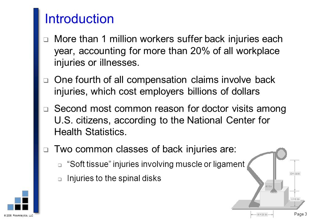  2006 RiskAnalytics, LLC Page 3 Introduction  More than 1 million workers suffer back injuries each year, accounting for more than 20% of all workpl