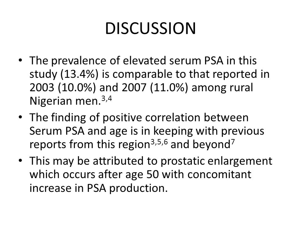 DISCUSSION The prevalence of elevated serum PSA in this study (13.4%) is comparable to that reported in 2003 (10.0%) and 2007 (11.0%) among rural Nige