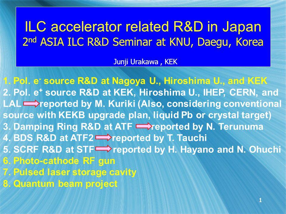1 ILC accelerator related R&D in Japan 2 nd ASIA ILC R&D Seminar at KNU, Daegu, Korea Junji Urakawa, KEK 11 1.