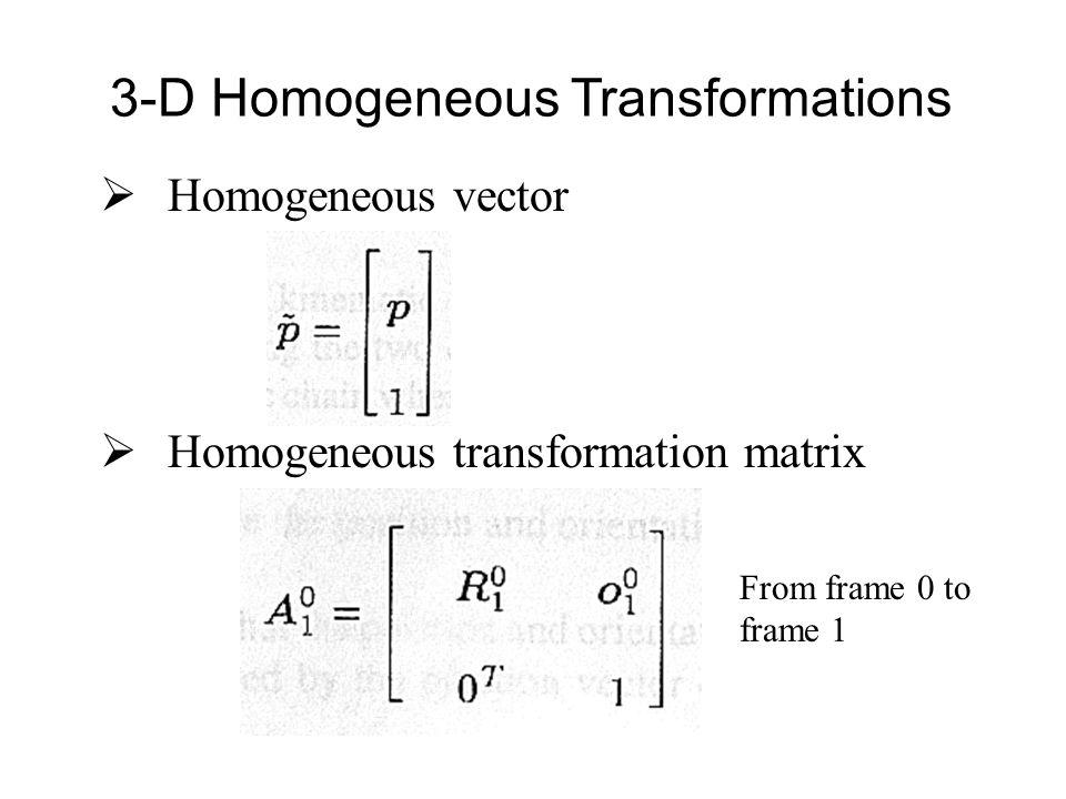  Homogeneous vector  Homogeneous transformation matrix 3-D Homogeneous Transformations From frame 0 to frame 1