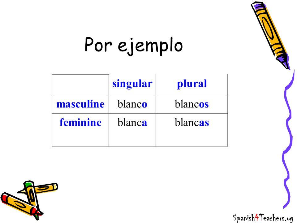 Por ejemplo singularplural masculineblancoblancos feminineblancablancas Spanish4Teachers.og