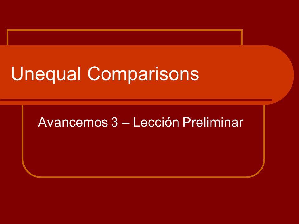 Unequal Comparisons Avancemos 3 – Lección Preliminar