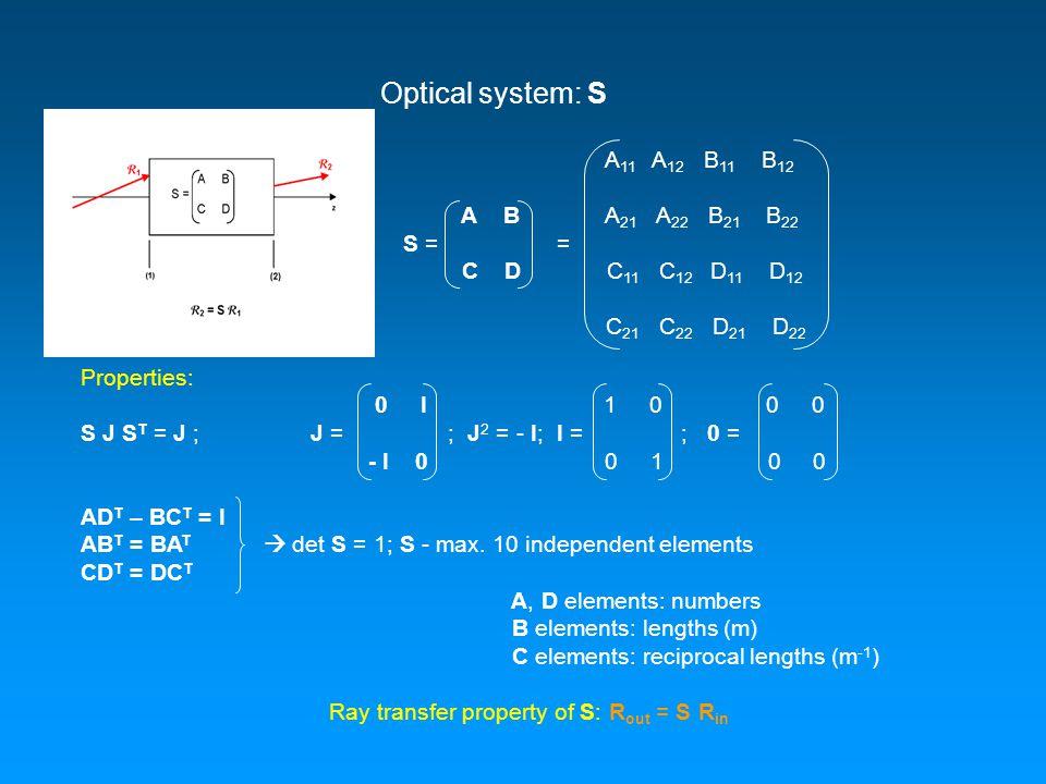 Optical system: S A 11 A 12 B 11 B 12 A B A 21 A 22 B 21 B 22 S = = C D C 11 C 12 D 11 D 12 C 21 C 22 D 21 D 22 Properties: 0 I 1 0 0 0 S J S T = J ; J = ; J 2 = - I; I = ; 0 = - I 0 0 1 0 0 AD T – BC T = I AB T = BA T  det S = 1; S - max.