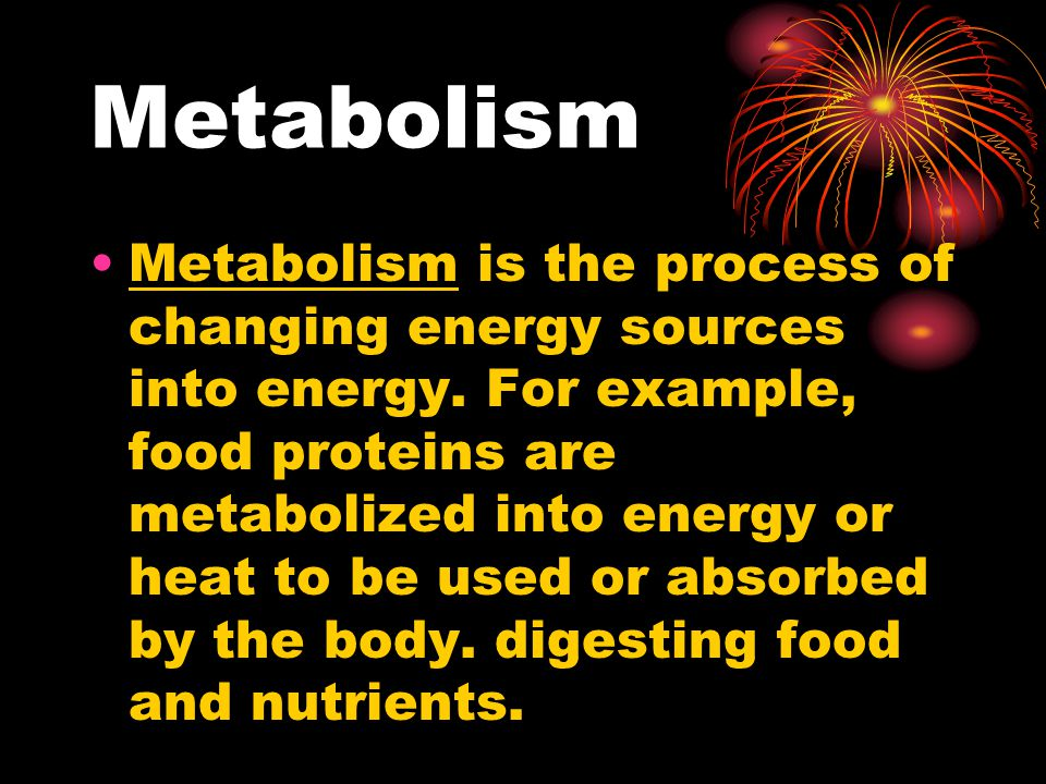 Metabolism Metabolism is the process of changing energy sources into energy.