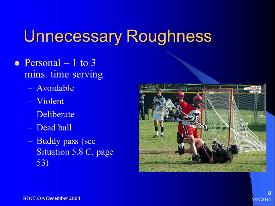 5/3/2015 SDCLOA December 2004 8 Unnecessary Roughness Personal – 1 to 3 mins.