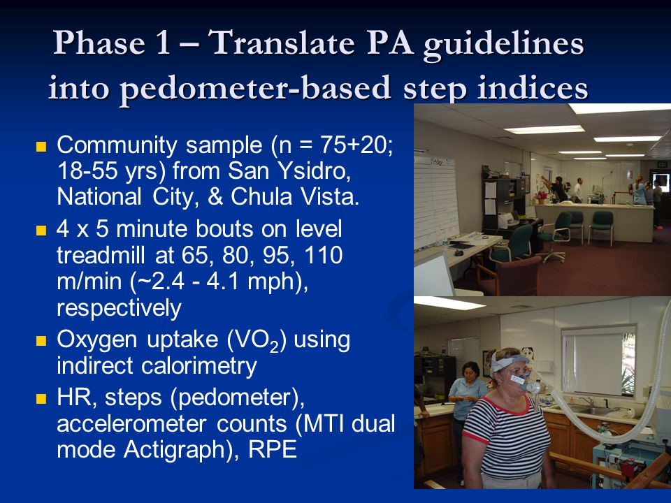 Phase 1 – Translate PA guidelines into pedometer-based step indices Community sample (n = 75+20; 18-55 yrs) from San Ysidro, National City, & Chula Vi