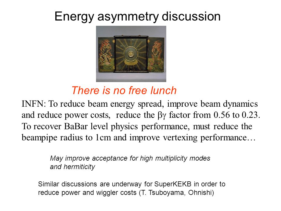 Energy asymmetry discussion INFN: To reduce beam energy spread, improve beam dynamics and reduce power costs, reduce the  factor from 0.56 to 0.23.