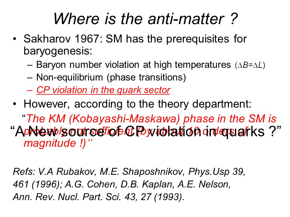 Where is the anti-matter ? Sakharov 1967: SM has the prerequisites for baryogenesis: –Baryon number violation at high temperatures (  B=  L) –Non-eq