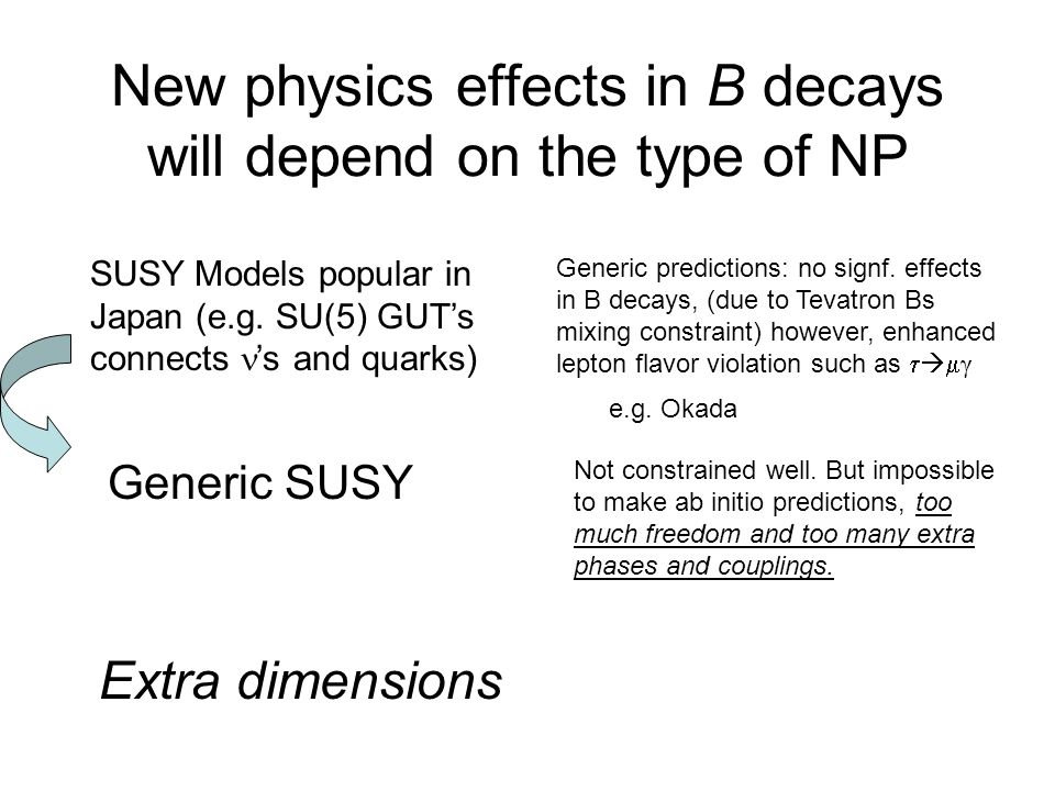 New physics effects in B decays will depend on the type of NP SUSY Models popular in Japan (e.g. SU(5) GUT's connects 's and quarks) Generic predictio