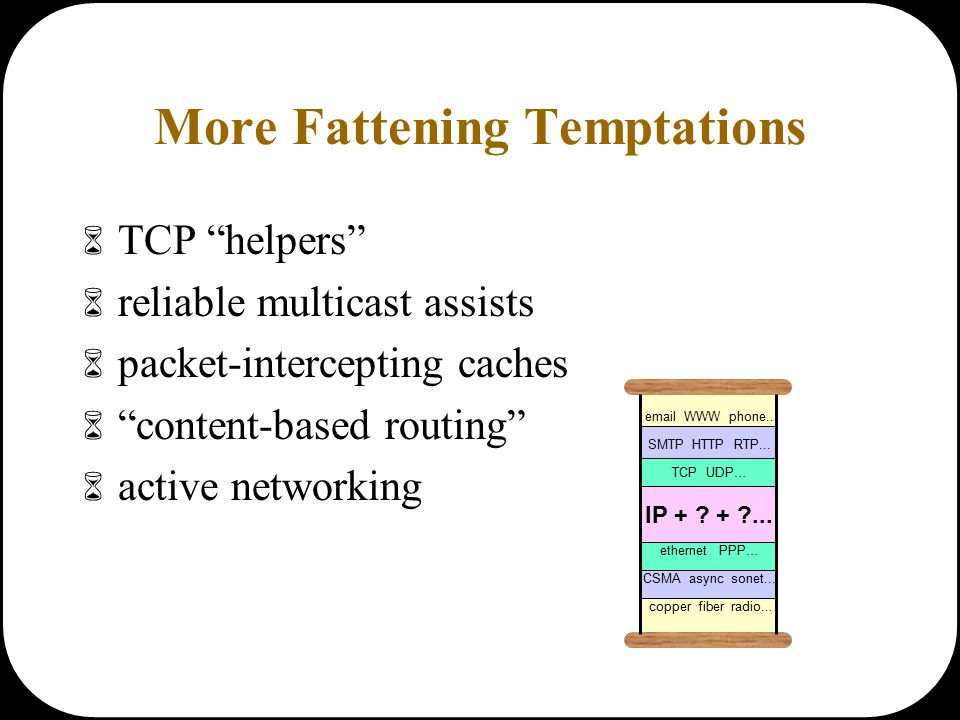 More Fattening Temptations  TCP helpers  reliable multicast assists  packet-intercepting caches  content-based routing  active networking email WWW phone...