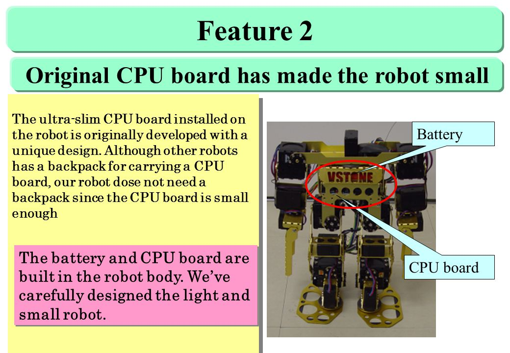 Feature 2 The ultra-slim CPU board installed on the robot is originally developed with a unique design.